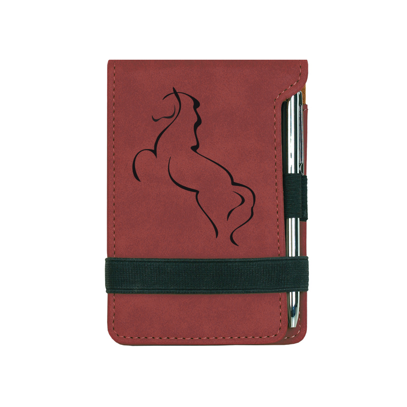 Custom engraved mini notepad and pen with a horse design 2 and personalized text.