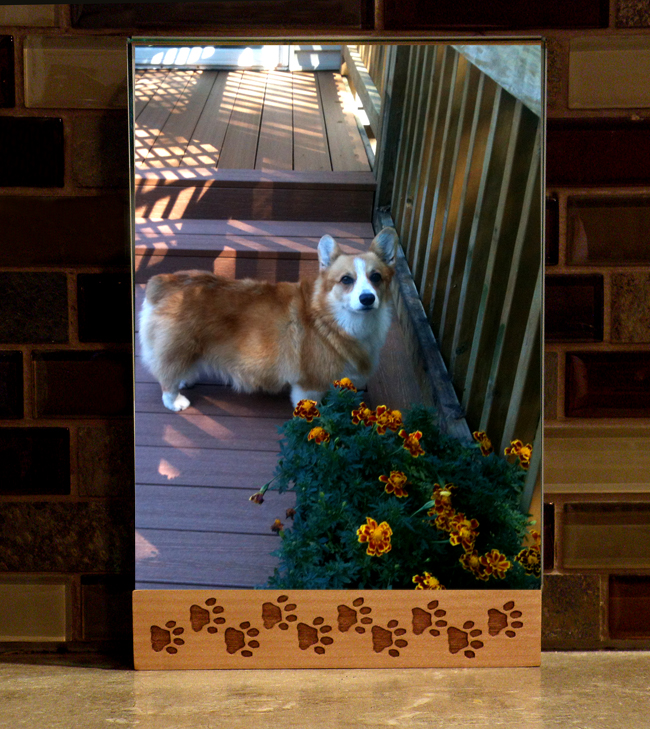 Dog paw print maple picture frame in 2 sizes.