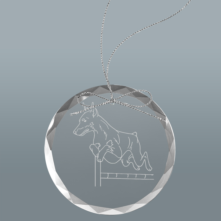 Custom engraved clear glass Christmas ornament with personalized text and Doberman dog design.