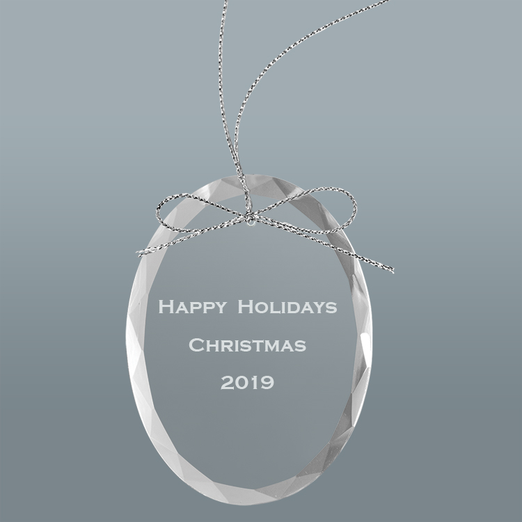 Engraved Glass Ornament - Engraved Text
