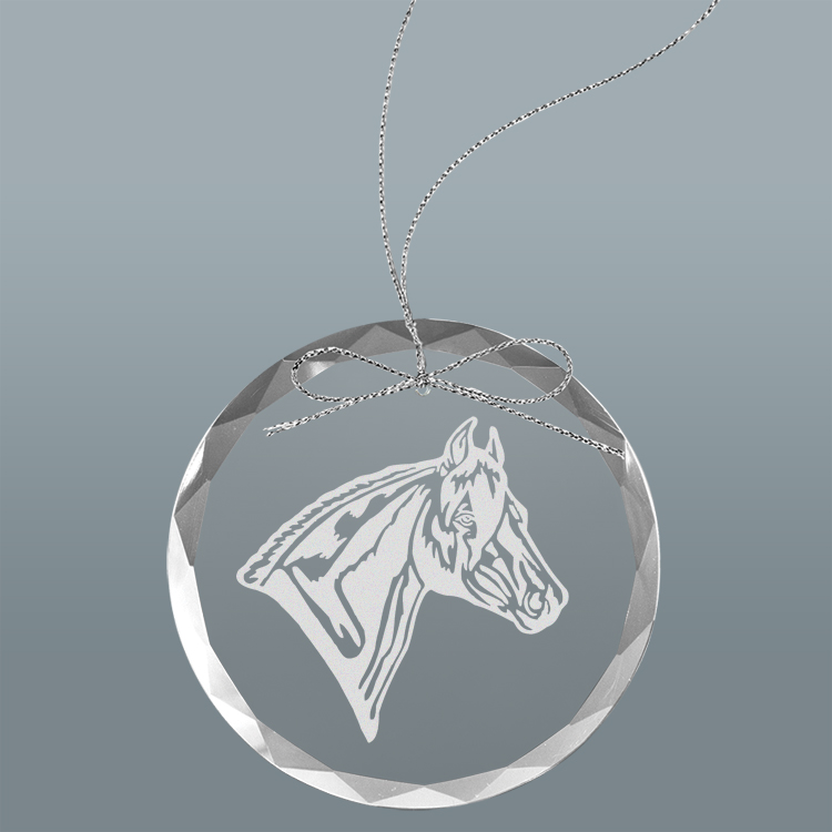 Custom engraved clear glass Christmas ornament with personalized text and horse design 2.