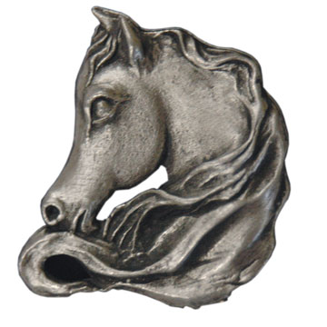Horse with Flowing Mane Brooch - Pewter Equestrian Jewelry