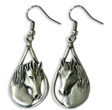 Horse Head Teardrop Earrings