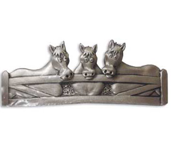 Horses with Moving Heads Barrette - Pewter