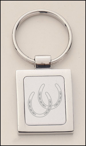 Polished silver key chain with custom engraved horse design 2 of your choice.