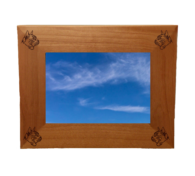 Personalized wood picture frame with custom engraved cat design and text.