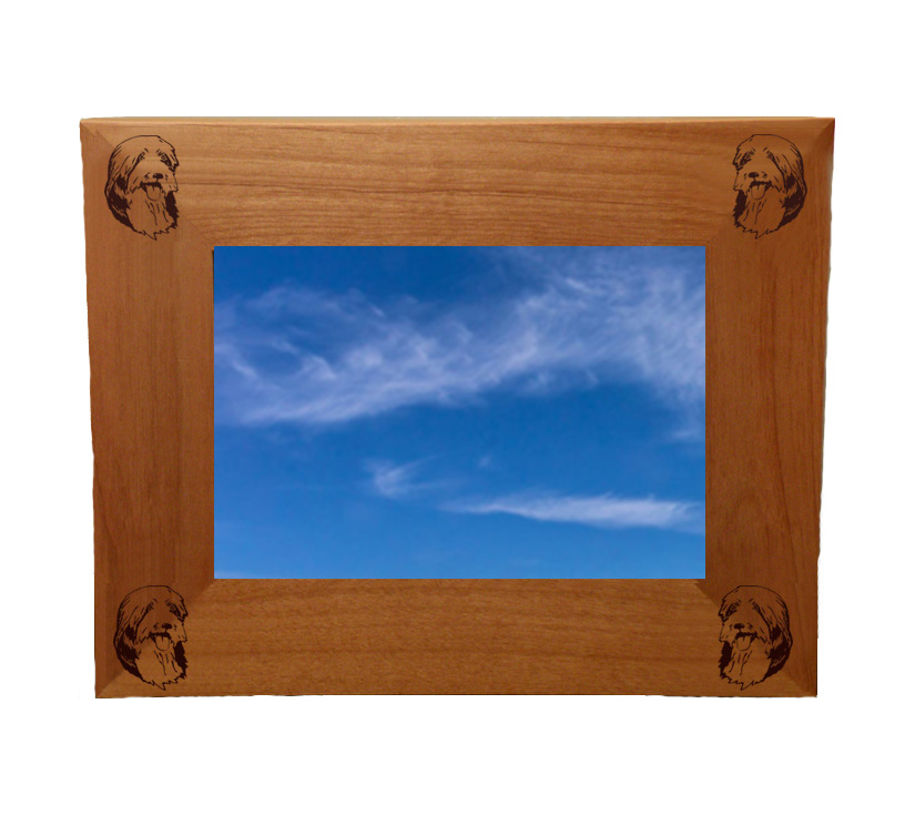 Personalized wood picture frame with custom engraved herding dog design and text.