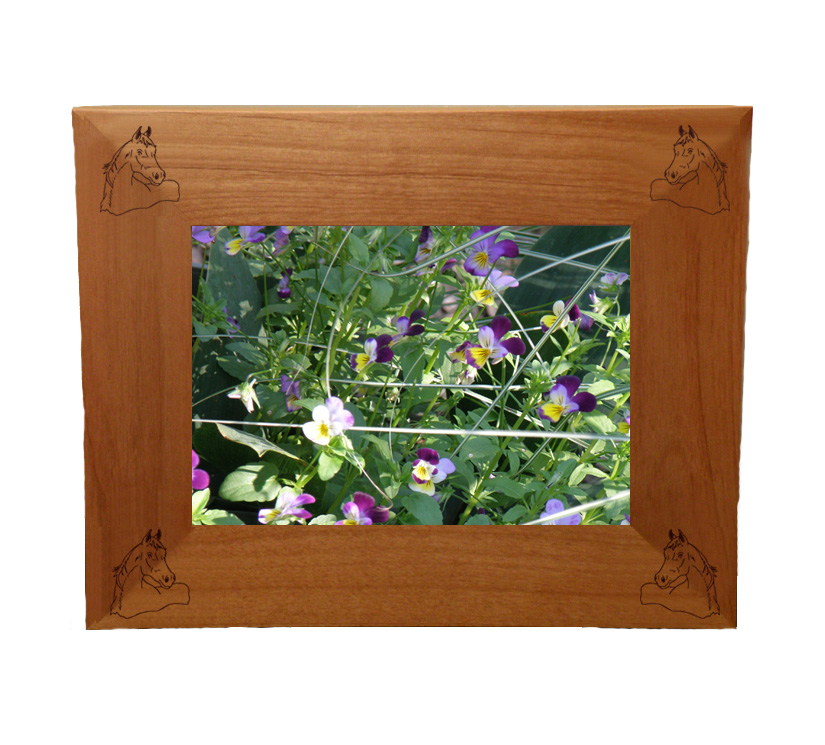 Personalized wood picture frame with custom engraved horse design and text.