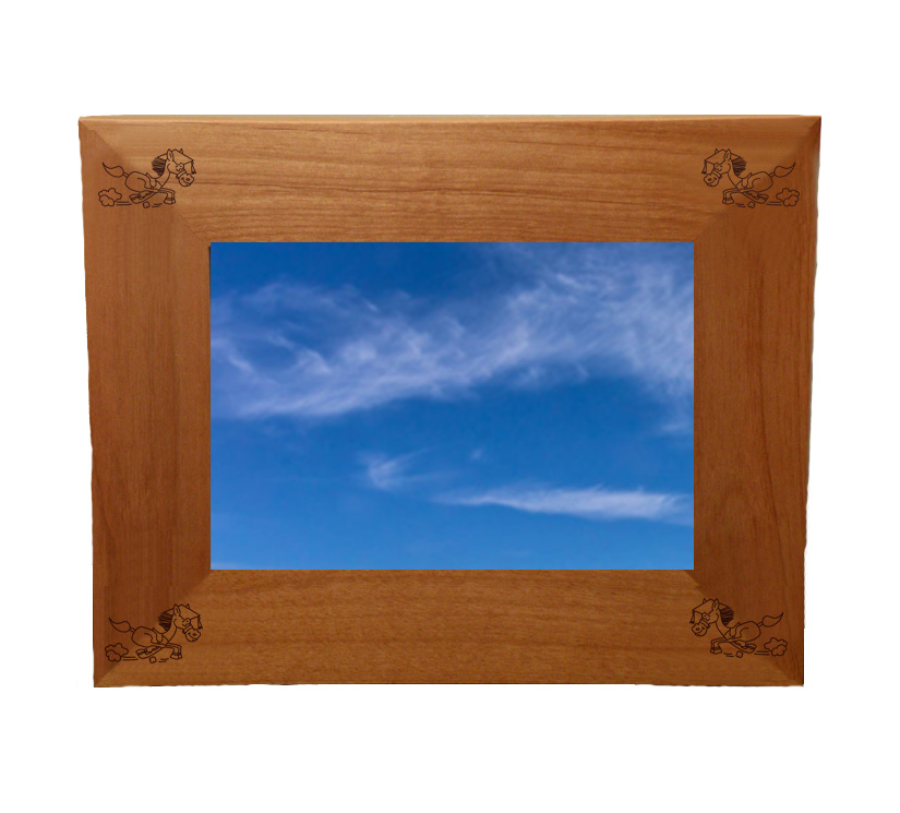 Personalized wood picture frame with custom engraved horse design 2 and text.