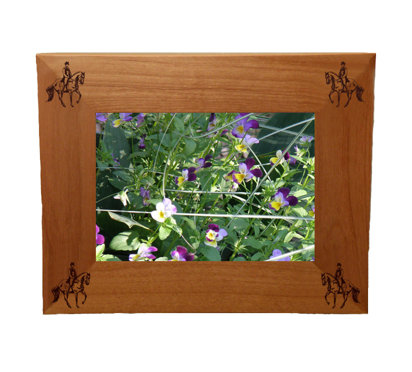 Personalized wood picture frame with custom engraved horse design 3 and text.