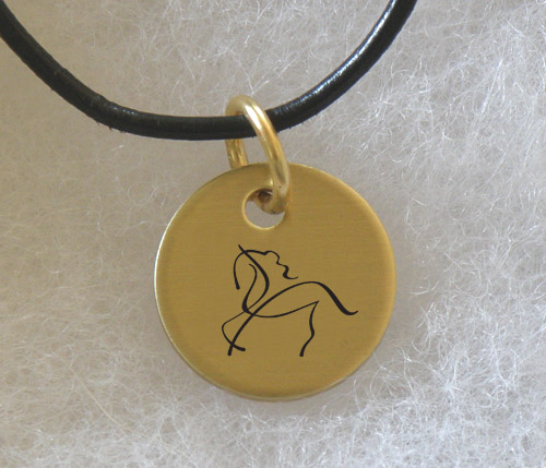 Brass Charm Necklace with engraved Horse Design 2