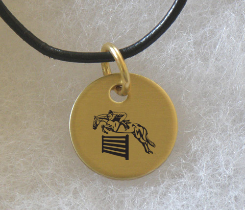Brass Charm Necklace with engraved Horse Design 3