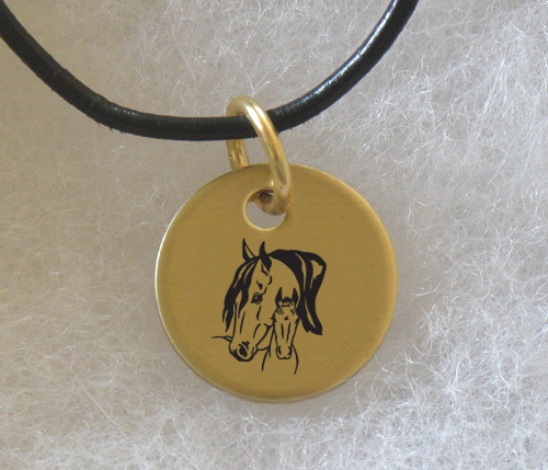 Brass Charm Necklace with engraved Horse Design 4