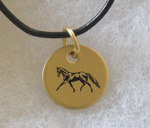 Brass Charm Necklace with engraved Horse Design 5