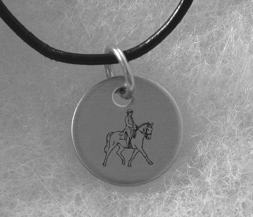 Silver Charm Necklace with Engraved Horse Design - Equestrian Jewelry