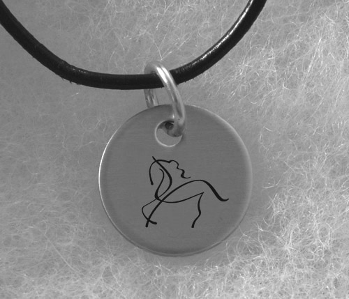 Engraved Silver Charm Necklace - Horse Design 2