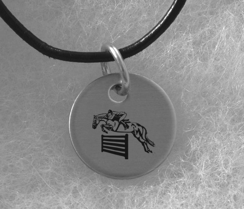 Engraved Silver Charm Necklace - Horse Design 3