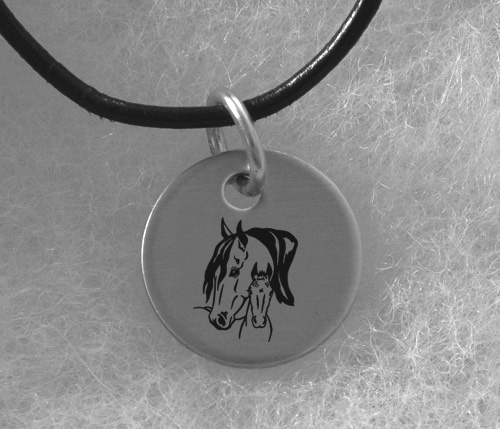 Engraved Silver Charm Necklace - Horse Design 4