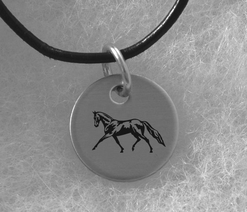 Engraved Silver Charm Necklace - Horse Design 5