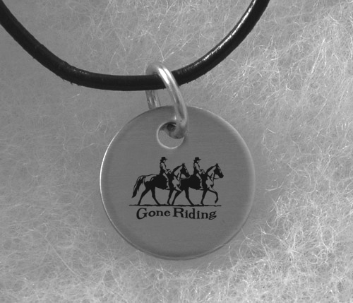 Engraved Silver Charm Necklace - Horse Design 6