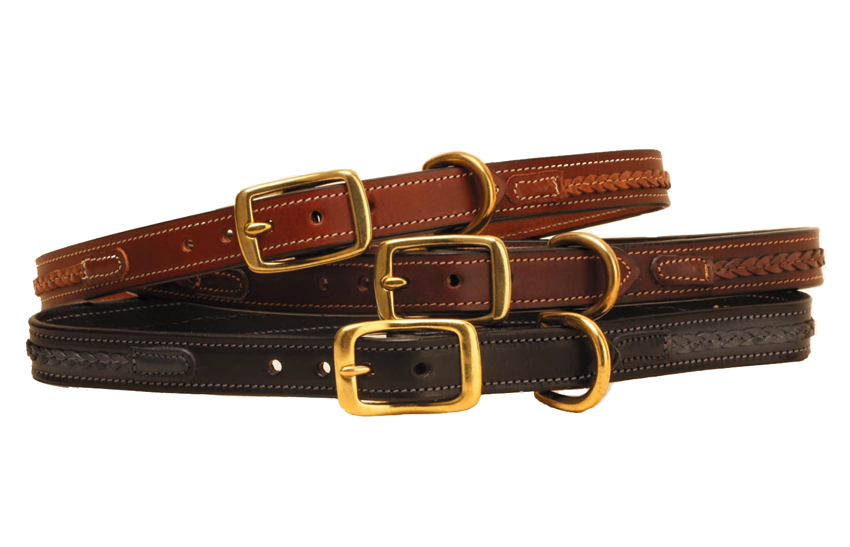 Stitched dog collar with a braided strip and solid brass hardware.