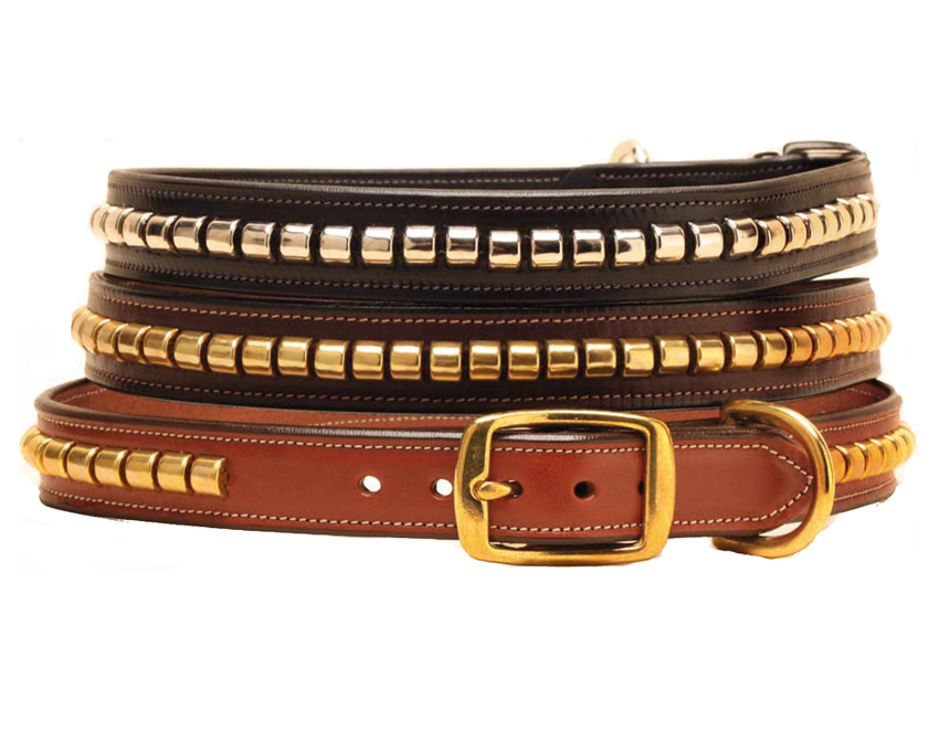 "English bridle leather dog collar that is 1"" wide with a strip of metal clinchers down the center of the dog collar."