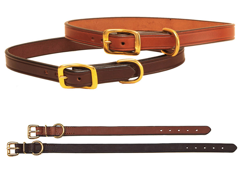 "3/4"" bridle leather creased dog collar with solid brass buckle and dee."