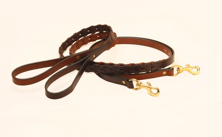 Tory Leather's laced leather dog leash in Oakbark or Havana.
