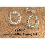 Horseshoe Jacket/Tiny CZ Earrings - Equestrian Jewelry