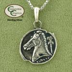 Horse Head Coin Necklace - Sterling Silver - Horse Jewelry