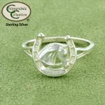 Horseshoe Horse Head Ring - Equestrian Jewelry