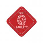 Custom engraved dog design plastic diamond sign with personalized text.