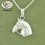 Sterling silver equestrian jewelry Horse Head with Bridle necklace.