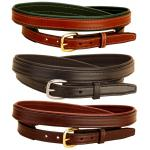 Padded leather belt in 3 leather colors and 2 buckle finishes.