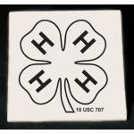 Personalized ceramic 4-H logo trivet with engraved text.