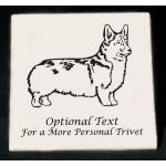 Custom engraved ceramic trivet / hot plate with engraved Welsh Corgi dog design and personalized text.