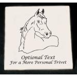 Personalized ceramic trivet with an engraved horse design and custom text.