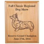 Custom Engraved Alder Award Plaque - Corgi Designs