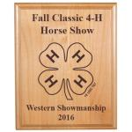 Custom Engraved Alder Plaque - 4-H Logo