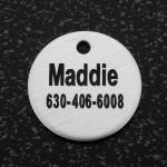 Engraved silver circle dog nameplate id tag for your dog's collar.