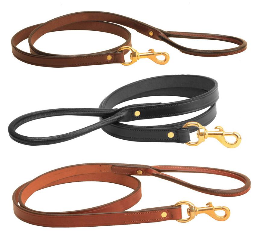4' Leather Dog Leash with brass hardware. Tory Leather Company