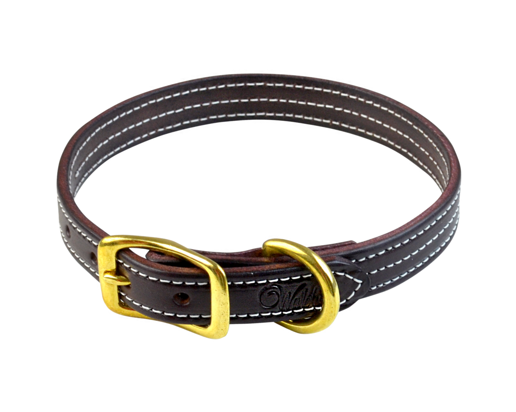 Triple stitched leather Walsh dog collar in Havana with a brass buckle.