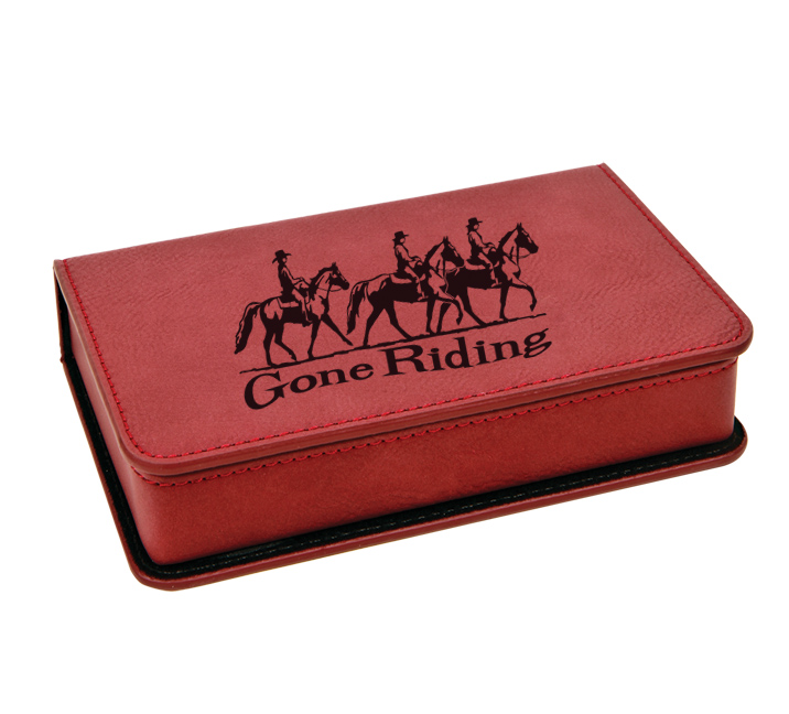 Personalized leatherette wine tools box with custom text and horse design 6.