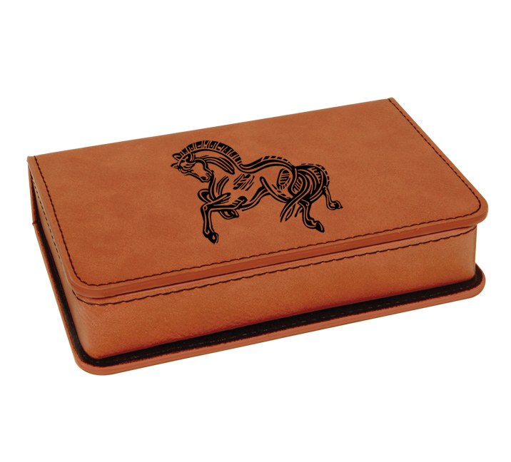 Leatherette wine tools horse design gift boxes make great a great horse show awards or equestrian wedding gifts.