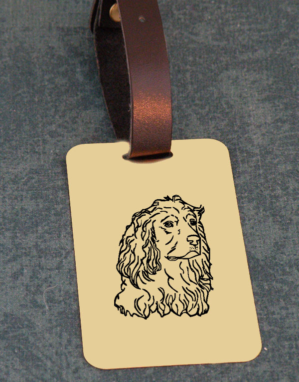 Sporting Dog Design Brass Custom Engraved Luggage Tag