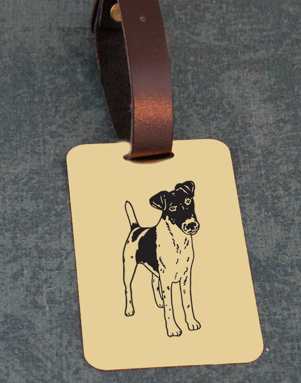 Terrier Dog Design Brass Custom Engraved Luggage Tag