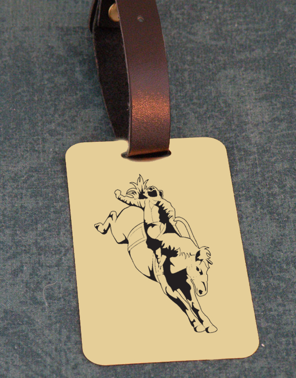 Solid brushed brass luggage ID tag with engraved text and rodeo design image of your choice.